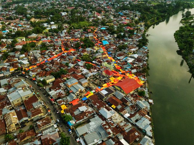Colorful Roof Aerial View Outdoors Cityscape Gorontalo INDONESIA Mobility In Mega Cities