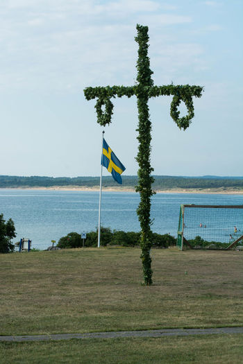 Flag Midsommar Midsommerpole Midsummer No People Swedish Flag Tradition