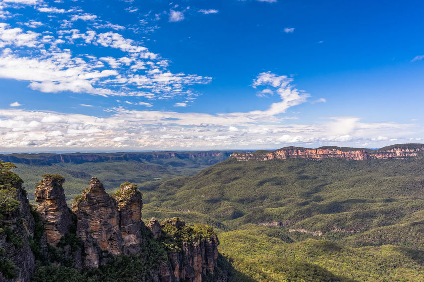 Three Sisters in the Blue Mountains Australia Beauty In Nature Blue Mountains Blue Sky Clouds Clouds And Sky Katoomba Landscapes Landscape_Collection Mountains Nature Nature Photography Nature_collection Rock Formation Three Sisters Travel Travel Photography Feel The Journey