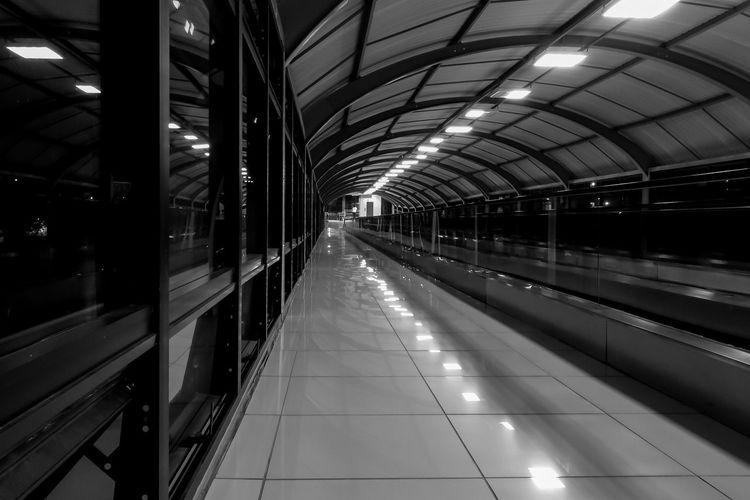 Moving Walkway At Subway Station At Night