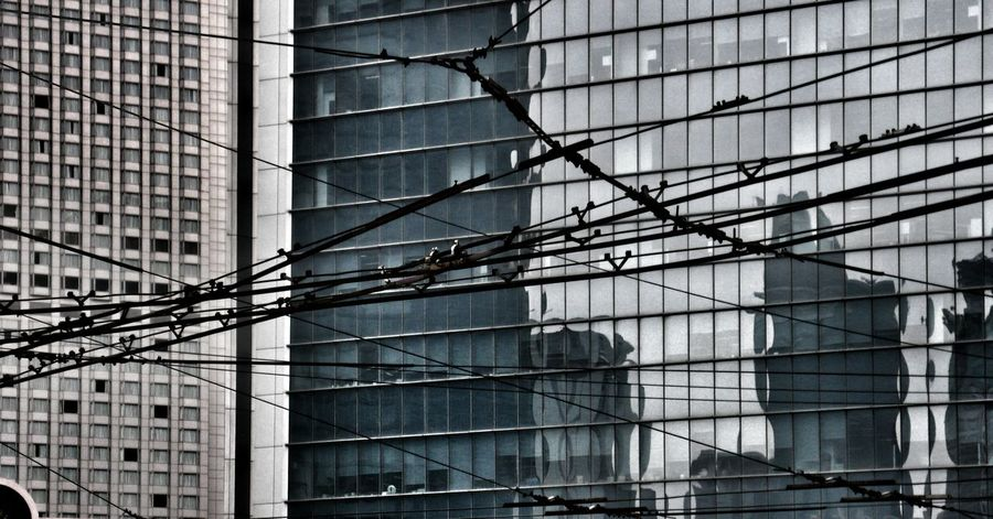 Structures & Lines Glass - Material Reflection City Electric Wires Cityscape Shanghai The Graphic City