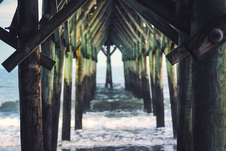 Symmetry No People Ocean Water Pier Day Wood - Material Built Structure No People Architecture The Way Forward Hanging Nature Outdoors Water