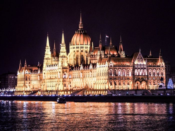 Budapest Parliament Architecture Night Built Structure Dome Government Illuminated Travel Destinations Building Exterior City Water Outdoors Budapest