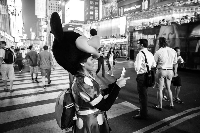 Even Minnie takes selfies. Check This Out Cheese! Black & White Popular Photos Stand Out From The Crowd Street Photography Newyork TimesSquare