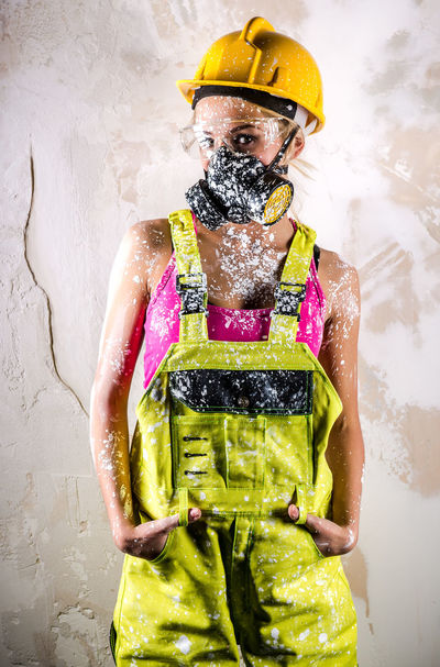 Woman with protective filter mask Construction Harmful Industry Paint Woman WorkWear Worker Builder Built Structure Caucasian Construction Worker Coverall Employment Female Handywoman Human Job Labor Overall Professional Occupation Protective Filter Mask Protective Workwear Repair Repair Woman Respirator