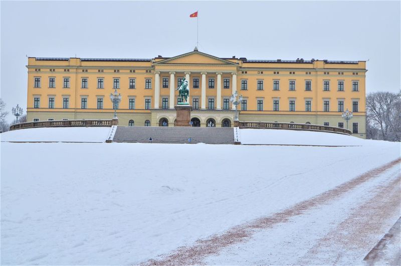 Architecture Built Structure Building Exterior Snow Winter Cold Temperature Nature Day Flag Building Sky The Past History No People White Color Patriotism City Travel Destinations Outdoors Oslo Oslo Norway Norge Royal Palace