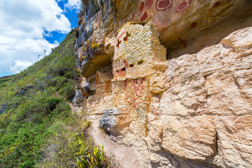 Beautiful Revash tombs near Chachapoyas, Peru Amazonas Ancient Architecture Beauty In Nature Burial Canyon Chachapoyas Chachapoyya Civilization Culture Day Landscape Nature Peru Revash Ruin Ruins South America Travel Travel Destinations Utcubamba
