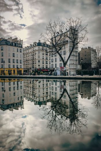Paris Reflection Water Reflection Water Canal Saint-Martin Symmetry Buildings Architecture City View  Cityscape Light And Shadow Outdoors After The Rain Cloudy Sky Parisian Life Urban Geometry Urbanphotography From My Point Of View EyeEm Best Edits EyeEmBestPics EyeEm Selects EyeEmNewHere EyeEm Best Shots