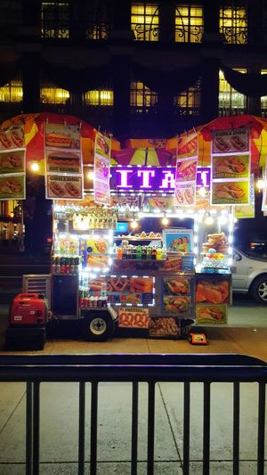 NYC NYC Photography Night Illuminated City New York City Hot Dog Stand