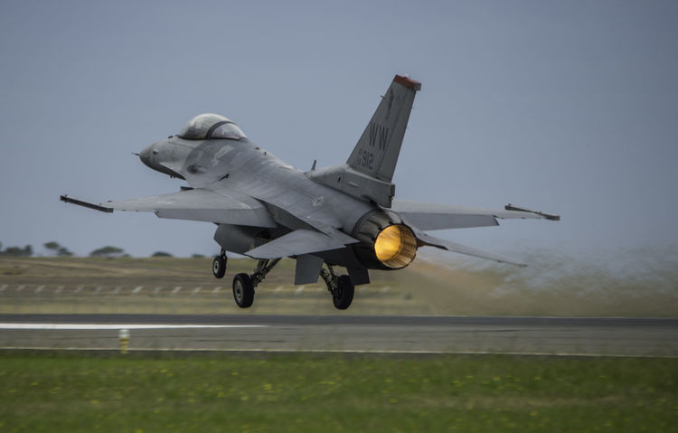 Jet Fighter F-16 USAF Aerospace Industry Afterburner Air Vehicle Airplane Airport Airport Runway Aviation Aviationphotography Clear Sky Day Fighterjet Fighterjets Flying Military Military Airplane Mode Of Transport Nature No People Outdoors Runway Sky Transportation