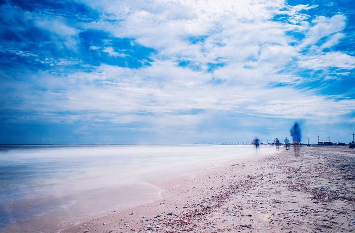 beach Beach Sand Sea Waves Sky Clouds Photo Time Shot Colorful Nature Water