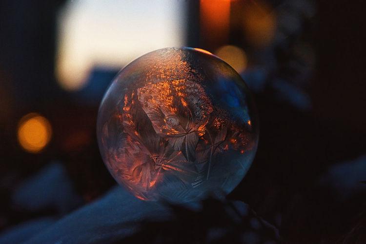 Close-up of a frozen soap bubble
