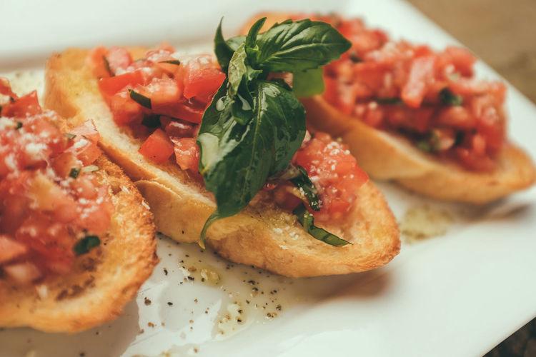 Close-up of bruschetta in plate