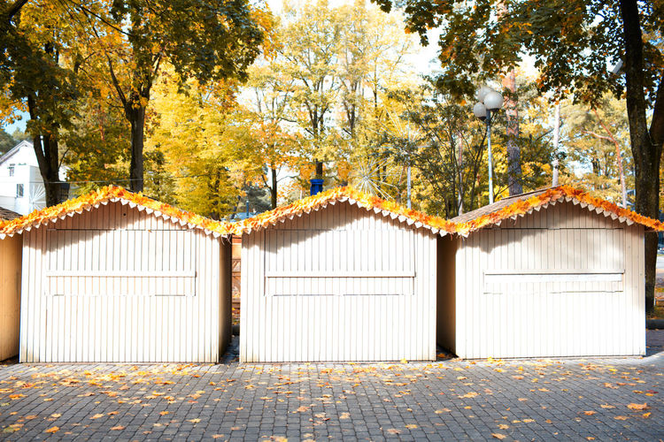 Wooden cottages with fallen leaves on footpath against trees