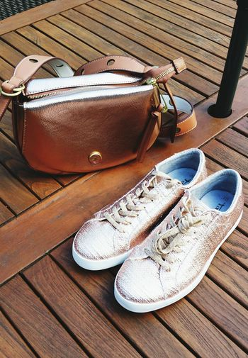 Out Of The Box Pair Shoe High Angle View No People Day Wood - Material Outdoors Close-up Sneakers Pink Color Summertime Summer2017 Go Out And Do Something Nice Glitter