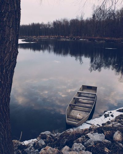 Water Nature Tranquility Reflection Lake Beauty In Nature Tranquil Scene Outdoors Scenics No People Nautical Vessel Tree Day Sky Lakeside Vscocam EyeEm Best Shots Fujifilm_xseries Shades Of Winter