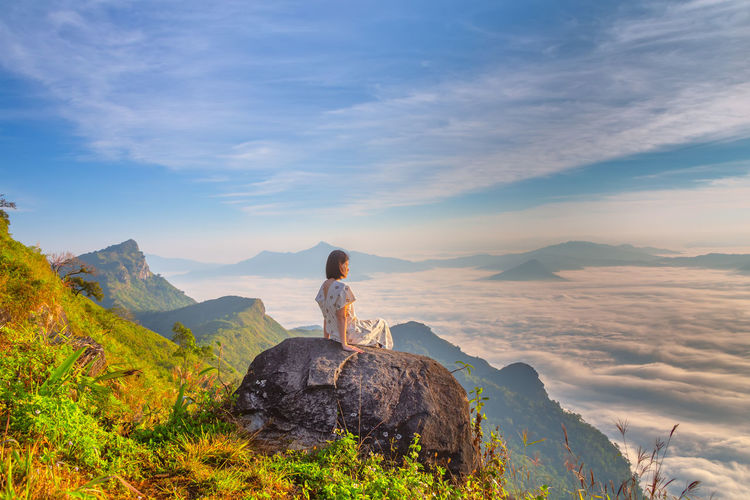 Women and nature Cloud - Sky Mountain Women Girl Green Nature Park Wallpaper Amazing Beautiful Colorful Fog Mist Misty Twilight Dark Thailand Outdoors Asian  Travel Travel Destinations People Countryside Countryside Landscape Landscape