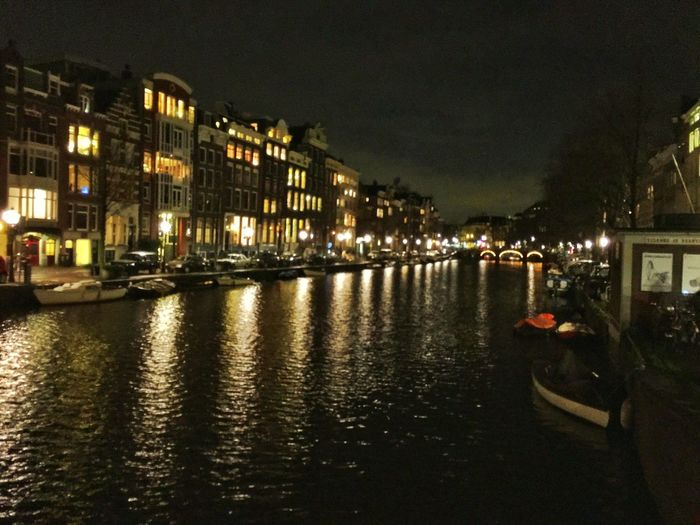 Amsterdam Amsterdamcity Architecture Beautiful Building Exterior Built Structure Canal City City Citylife Gracht Grachten Holland Iamamsterdam Illuminated Netherlands Niederlande Night Nightshot Reflection Residential Building River Street Light Water Waterfront