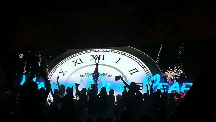 Happy New Year from Thailand! Silhouette New Year Large Group Of People Night Arts Culture And Entertainment Illuminated Crowd Nightlife Performance People Clock Clock Face