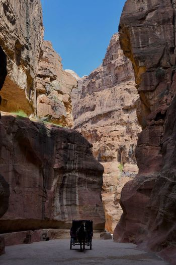 Jordan Petra Beauty In Nature Cave Cliff Day Horse Photography  Mammal Mountain Nature No People Outdoors Rock - Object Rock Face Rock Formation Sky Steep Travel Destinations