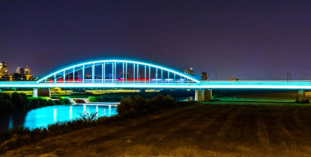 Hendrix bridge Arch Bridge Architecture Bay Bridge Bridge - Man Made Structure Building Exterior Built Structure City Connection Illuminated Light Trail Long Exposure Motion Nature Night No People Outdoors Railway Railway Bridge Reflection Sky Train - Vehicle Transportation Travel Destinations Water