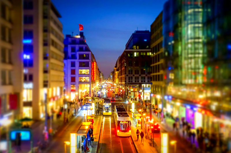 Tilt-shift Tiltshift Night Nightlife Shopping Famous Place Multi Colored Colorful Friedrichstrasse Tram Public Public Transport Blue Hour Neon Lights City Cityscape cityscapes Business Business Finance And Industry Illuminated Architecture Transportation Building Exterior Mode Of Transportation Street Built Structure Motor Vehicle City Life Car Motion Traffic City Street Road Incidental People Blurred Motion Dusk Travel Outdoors Neon