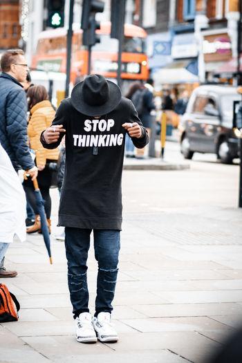 Men walking in city