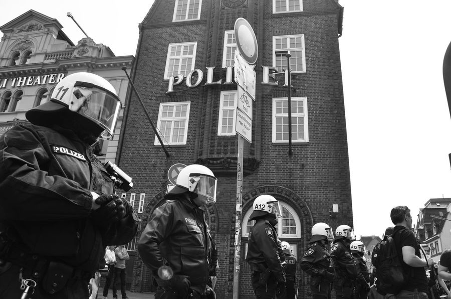 Riot Police in Hamburg, Davidwache (St. Pauli) Demonstration Protesters Protest St Pauli Davidwache G20 Gipfel G20 Summit Building Exterior Real People Architecture Built Structure Large Group Of People Men Day Protestor Police Force Togetherness Helmet Street Uniform City Communication Standing Crowd