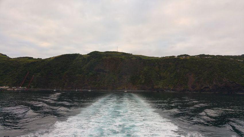 Sao Jorge Island Boat Trail Leaving It Behind Azores Islands Atlantic Ocean Boat Trip