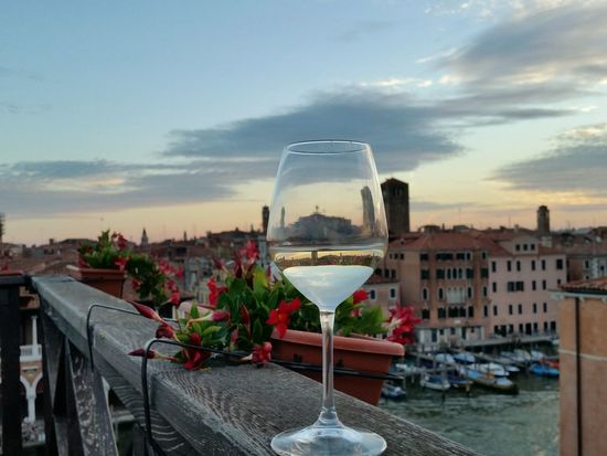 Alcohol Wine Drink Sunset Drinking Glass Sky Flower Cloud - Sky Refreshment Water Outdoors Food And Drink City Cocktail Wineglass Champagne No People Day Venice Fragility Cityscape Investing In Quality Of Life Summer Exploratorium