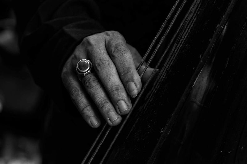Close-up of hands playing string instrument
