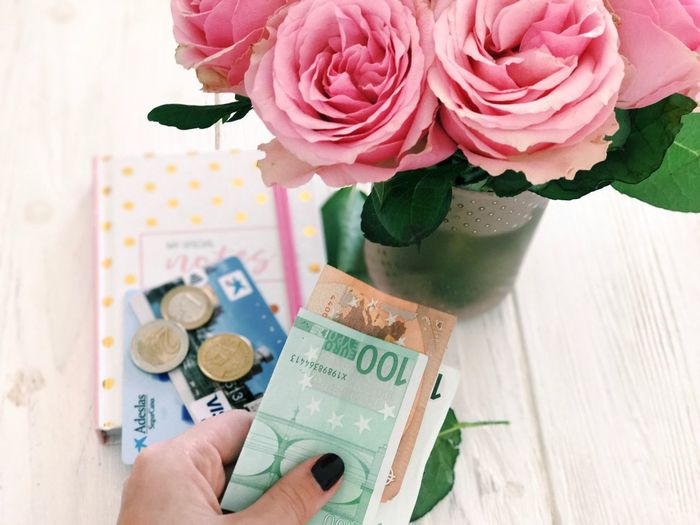 Flower Flowering Plant Plant Human Hand Hand Human Body Part Currency Holding Business Beauty In Nature Rose - Flower Personal Perspective One Person Finance Freshness Close-up Paper Currency Indoors  Rosé Nature
