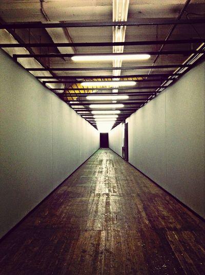 Empty corridor of subway station