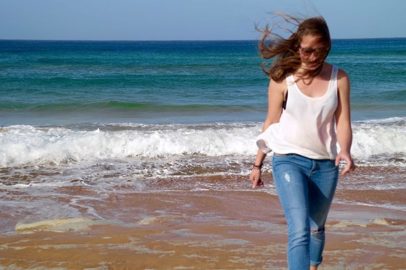 Beach Girl Waves Wind Malta Beautiful Ocean