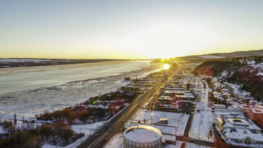 Orléans Bridge In Background Near Montmorency Falls Quebec City Wintertime Heritage Building Catholicism January 2017 Snow White Dawn Light Dronephotography The City Light