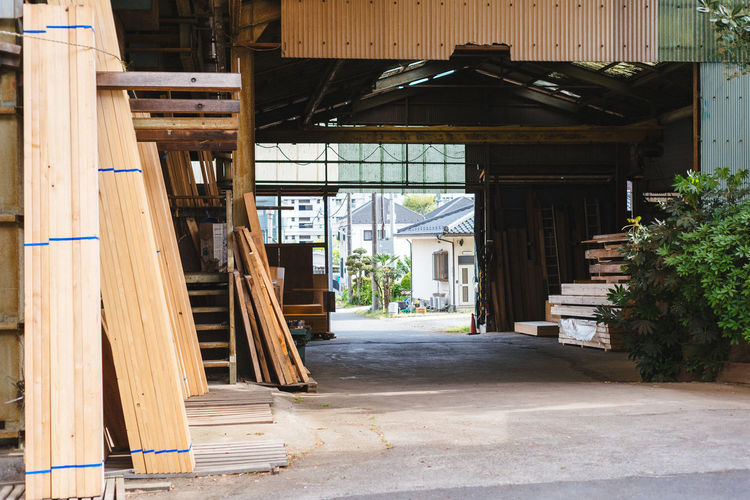Carpentry in Tokyo Absence Architectural Column Architecture Building Built Structure Column Day Empty Exterior Façade Narrow No People Open Outdoors Residential Building Residential Structure The Way Forward Walkway Wood - Material