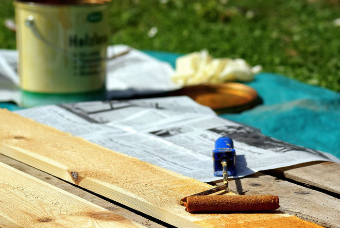Home Improvement Sony Sonyalpha Glaze Green Home Improvement Orange Wood Close-up Color Focus On Foreground Newspaper No People Tools