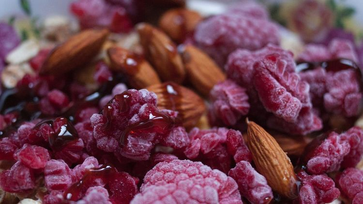 Breakfast Syrop Almonds Raspberry Food And Drink No People Food Freshness Close-up Nature Day