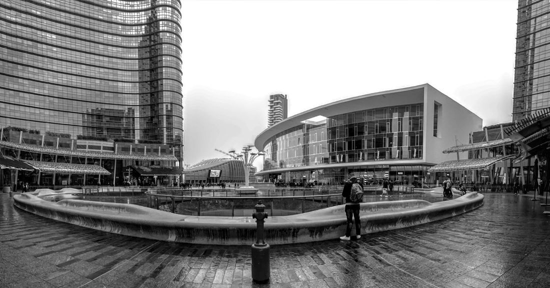 Rainyeyes 💧 Architecture Building Exterior City Built Structure Skyscraper Modern Travel Destinations Milan,Italy Milano Walking Around The City  Walking Around Taking Pictures Rainy Day Blackandwhite Photography Street Square Gae Aulenti MadeinItaly Walking Travelling