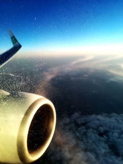 Latergram Yesterday Evening Monday Aircraft Flight Boeing Boeing737800 Window Icecrystals Ice Aircraftengine Engine Aileron Topview Abovetheclouds  Clouds Sunset Bluesky Lights Travel Backhome Instatravel Transavia Athens Ath Eleftheriosvenizelos Paris ORY Orly