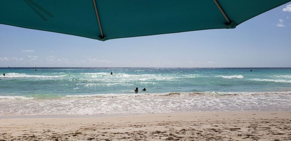 Oceanfront Atlantic Ocean Waves Horizon Over Water Blue Sky Cloud Line Sandy Beach Footsteps In The Sand Enjoying The View Under The Umbrella  Beach Umbrella Color Matching Beach Photography