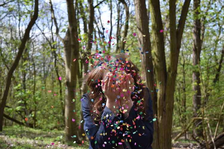 Beauty In Nature Close-up Confetti Confettii Confettis Dancing Day Enjoying Life Enjoyment Green Green Color Growth Lifestyles Loving Life! Multi Colored Nature Non-urban Scene Outdoors Tranquil Scene Tranquility Tree Woman