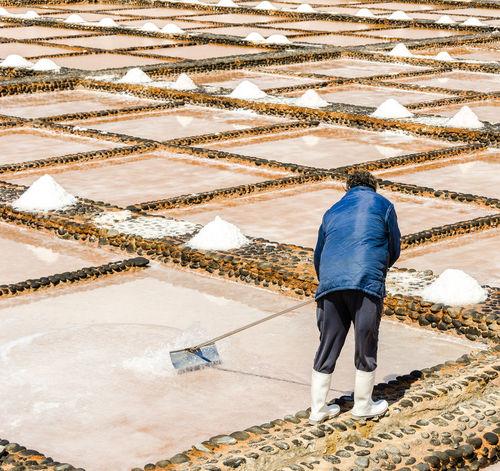 Fuerteventura Las Salinas Museo De La Sal Person Puerto Del Carmen Rear View Standing