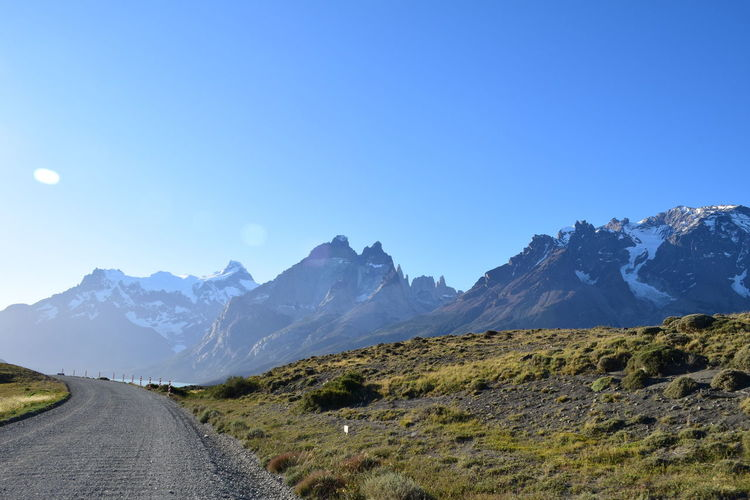 Cold Temperature Covering Espectacular Geology Gravel Road Isolated Landscape Majestic Mountain Mountain Range Patagonia Physical Geography Remote Remote Control Scenics Season  Snowcapped Summer Torres Del Paine Tranquil Scene Trip Weather Landscapes With WhiteWall