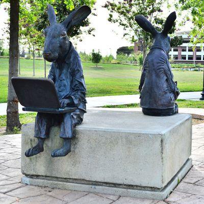 Rabbit Bunny  Statue Bunnies Rabbits Park Library