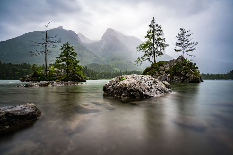 Scenic view of rocks in water against sky