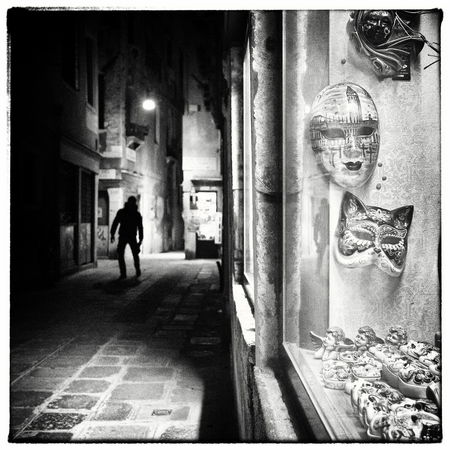 Venedig Venezia Venice, Italy Architecture Illuminated Mask Night Notte Notturno One Person Outdoors People In The Background Real People Rear View Walking