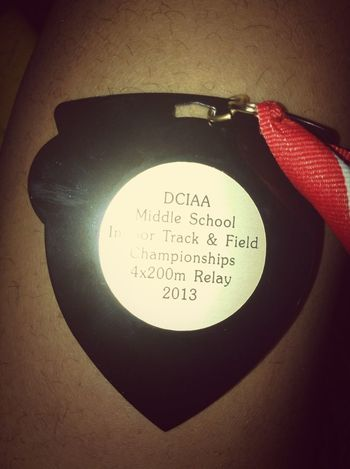 , On Keonte leg but my Medal From Champoinship Yesterday