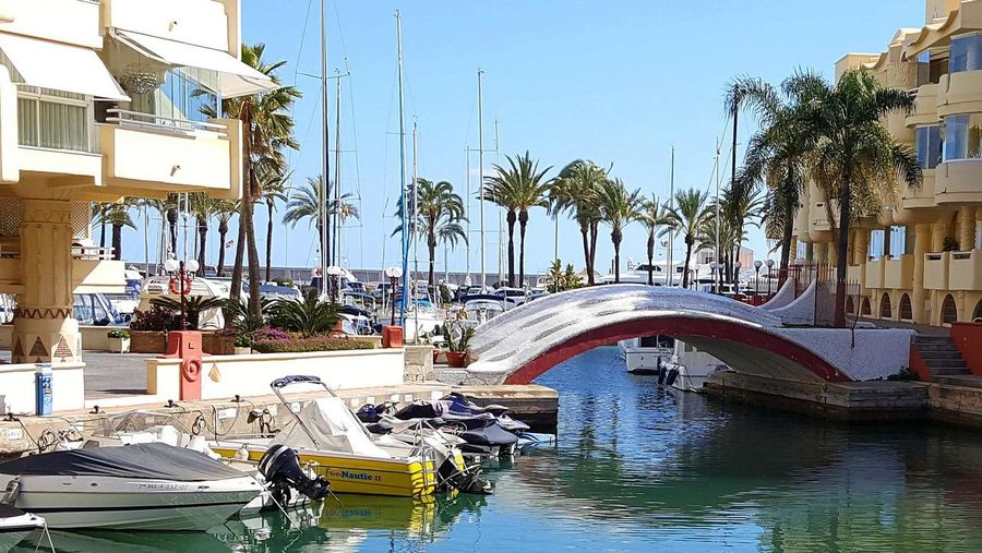 Puerto Marina Benalmádena Yachts Brigdeovertroutwater Vacations Travel Destination Seascape Water Day Nautical Vessel Outdoors Tree Transportation Architecture Sky