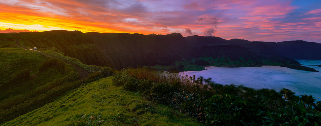 Morning Light Panorama Portugal Beauty In Nature Cloud - Sky Day Grass Island Landscape Mountain Nature No People Outdoors Paradise Island Rural Scene Saomiguel Scenics Sky Sunset Tranquil Scene Tranquility Tree Water